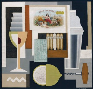 Gerald Murphy was also, briefly, a painter. This is 'Cocktail'.