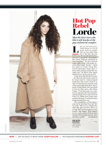 Lorde wearing the Eugenie Coat in Rolling Stone. Image courtesy of Rolling Stone magazine