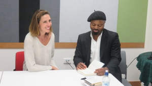 Caroline L. Barron with Ben Okri. Auckland May 2015. Copyright Caroline L. Barron 2015.