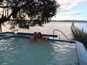 It isn't too hard to see, we're in heaven (thanks Bryan Adams).  Manupirua Hot Springs, Lake Rotoiti. Image copyright Caroline Barron 2015