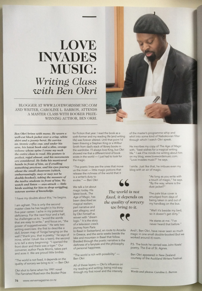 Love Invades Music: Writing Class with Ben Okri by Caroline L. Barron. Verve Magazine July 2015