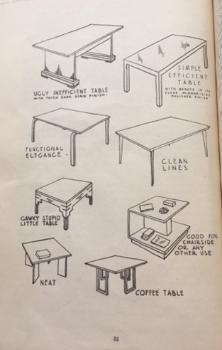 'Ugly Inefficient Table vs Simple Efficient Table' from D. E. Barry's Martin's Modern Decoration and Furnishing (1947, Reed NZ)
