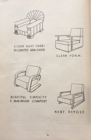 'A Crude Bulky Over-Decorated Arm Chair vs Neat Repose' from D. E. Barry's Martin's Modern Decoration and Furnishing (1947, Reed NZ)
