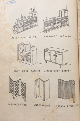 'Ugly and Disconcerting vs Useful and Neat' from D. E. Barry Martin's 'Modern Decoration and Furnishing' (Reed NZ, 1947, page 40)