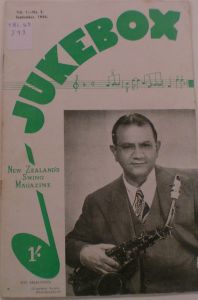 'Jukebox: New Zealand's Swing Magazine' (September 1946) featuring bandleader Epi Shalfoon (from the Sir George Grey Collection at the Auckland City Library)