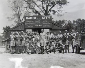The RNZAF Swing Wing band in the Pacific circa 1944 led by Theo Walters (centre). From the RNZAF band papers at Archives New Zealand.