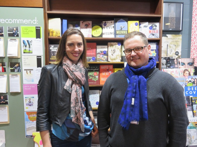 Caroline Barron and Alec Patric at Readings Book Store, Melbourne, 2015. Image copyright Caroline Barron